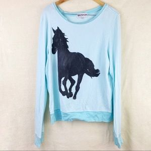 Wildfox Mint Green Black Horse Jumper Sweatshirt